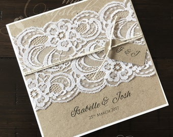 "Rustic Wedding Invitation ""Isabelle"" - Rustic Vintage Lace Square Invitation SAMPLE"