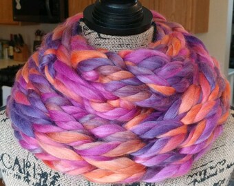 Super Chunky Arm Knit Double Infinity Scarf/Purple Scarf/Pink Scarf/Orange Scarf
