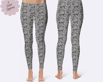 Steampunk Leggings, Gear Print Leggings, Gear Leggings, Steampunk Clothing, Womens Leggings, Print Leggings, Yoga Pants, Ladies Leggings