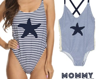 Mommy And Me Swimsuit Sets Star Fish Bathing Suits Starfish Swimsuits Mom And Daughter Swimsuits One Piece Bathing Suit One Piece Swimsuit