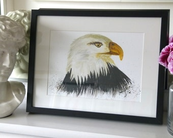 Eagle eye, one of a kind, painted & framed