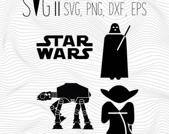Darth Vader Svg, Star Wars Svg, Darth Vader Yoda At At Svg Files For Silhouette For Cricut, Vector Cutting Files Vinyl Decal, Monogram Svg