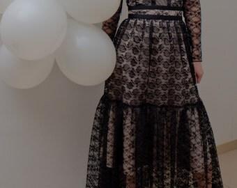 Black midi length dress, lace / lace dress / black dress / cocktail dress