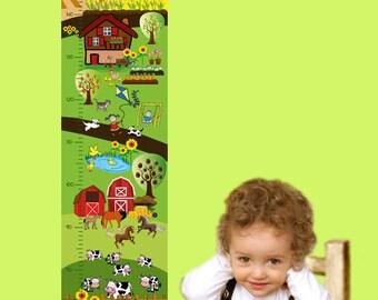 Messlatte: Bauernhof   Messleiste für Kinder   Skala   personalisierbar mit Name, Geburtsdatum, Messposter Tiere, Messlatte Pferde