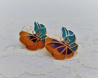 Petite Orange Blue and Purple Butterfly Cloisonne Stud Earrings- Gold Tone