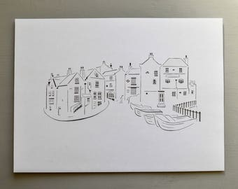 Robin Hood's Bay / Seaside Handcut Papercut, Buildings, Landscape Paper Cut, Houses, Handmade Gift , Present, Art