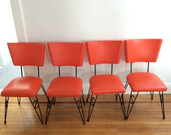 Mid Century Orange Dining Chairs 4pcs