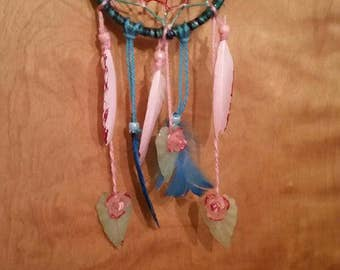 Glitter, Flowers, and Feathers Dream Catcher