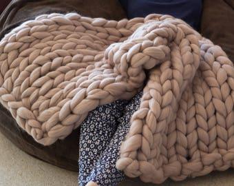 Super chunky knit runner blanket