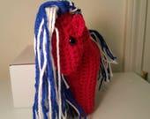 Americana Red Crochet Horse Plushie
