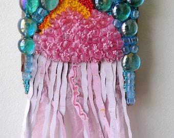 Swim Deep, recycled art, jellyfish woman in the ocean