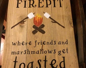"Welcome to our firepit Wooden sign 22 1/4"" x 12 3/4"""