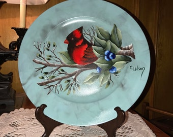 Red Bird Hand Painted Plate