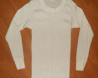 Vintage 1980's Long Sleeve Thermal Base Layer Undershirt Size L (42-44) Waffle Weave Stretchy Soft 50/50 Blend Cream Color