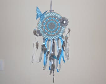 Dream catcher on half of circle crochet embroidery