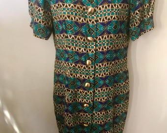Vintage 80s Geometric Print Dress from Jessica Howard by Mitchell Rodbell Petite