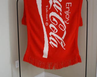 Vintage Coca Cola Knit Throw Blanket