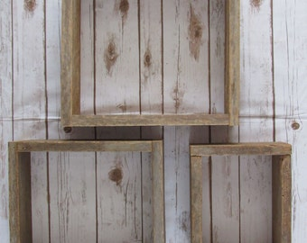 Barn Wood Box Shelving Set, Reclaimed Wood Shelves, Rustic Shelving, Shadow Box Shelving