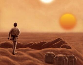 """Tatooine Star Wars 11""""x17"""" Art Print"""