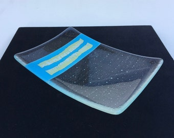 Clear Fused Glass Plate With Turquoise and Silver Foil