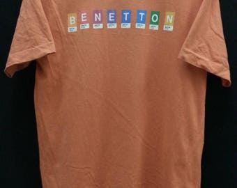 Vintage 90's United Colors of Benetton//Spell Out Colorful//Size M//Made In Italy