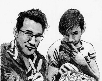 JackSepticEye and Markiplier Realism Drawing