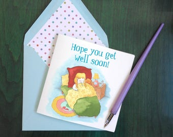 Card + envelope: Get Well Soon / Remets-toi vite / you best
