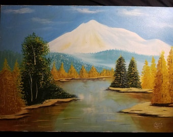 Icy Mountain and autumn trees - signed