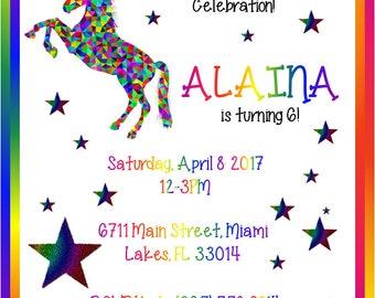 Unicorns Invitation, Unicorns Invite, Unicorns Birthday, Unicorns