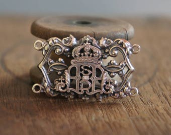 French Brass Stamping Filigree Religious Cypher Notre Dame Bracelet Centrepiece Handmade Supply