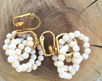 60s Pearly Cluster Clip-On Earrings