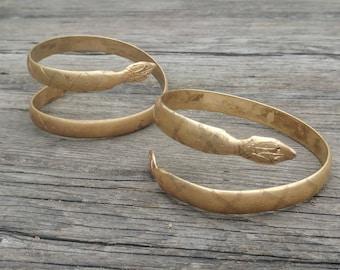 2 Vintage Art Deco Snake Armbands // Brass Snake Bohemian Jewelry // Gold Boho Bangle Festival Fashion