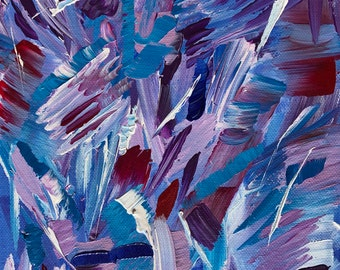 Original Abstract Acrylic Painting on Box Canvas // Approximately 10'' x 8'' 'Lavender Crush'