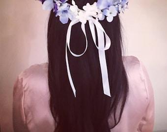 Flower Crown, Blue flower crown, Flower headband, floral headband, wedding flower crown, bridal flower crown, bohemian flower crown