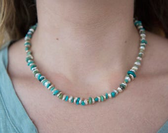 Pearl, turquoise and gold beaded necklace
