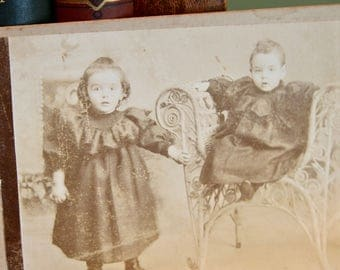 Antique Cabinet Card Photo. Children, Late 1800s. Collectible Photo, Scrapbooking, Art Supply, Antique Collection, Antique Photo, Prop, Kids
