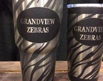 Zebra engraved stainless tumblers