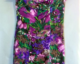 "80s Mini Bodycon Purple Green Floral Dress Off Shoulder Party Formal Retro Sz 7 8 Medium Sexy Tight Fitting Slinky 28"" Waist Club Wear Short"