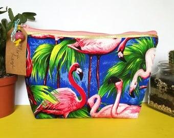 Handmade Royal Blue Flamingo Makeup Bag