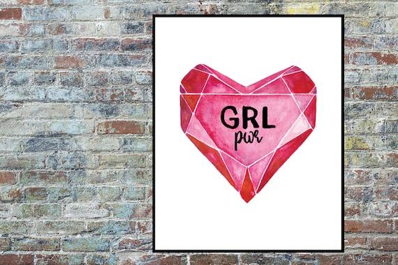 GRL pwr Print, Feminist Printable, Equal Rights Print, Strong Girls, Motivational Feminism Print, Instant Digital Download, Wall Art Decor