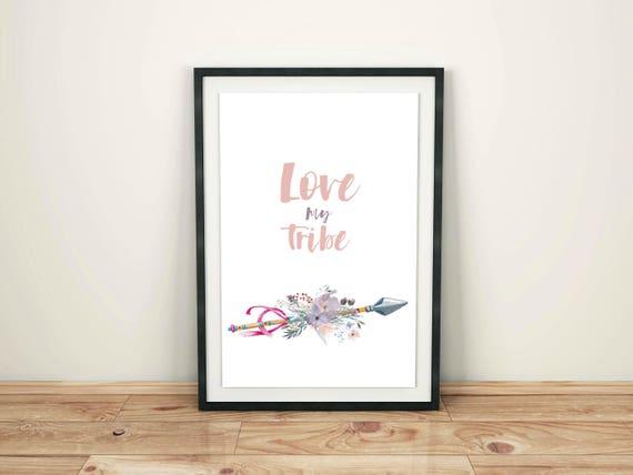Love My Tribe / Watercolor Boho Flowers / Boho Arrows Wall Decor / Boho Chic Wall Art / Tribe Arrow / My Tribe Quote / Flowers and Arrow