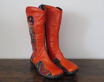 Orange Leather Boots Size 37, Cowboy Boots, Handmade Mola Boots