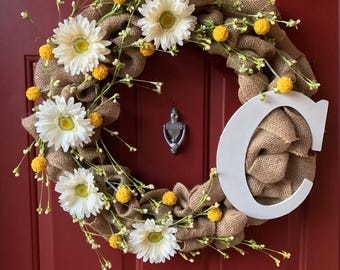 Spring Burlap Wreath With Wildflowers and Monogram - Spring Wreath - Summer Wreath - Home Decor - Front Door Wreath - Wreath with Initial