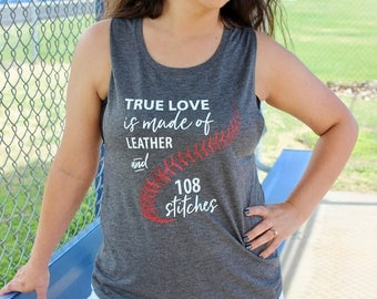 Baseball Love (Leather & Stitches) T-Shirt or Tank / Baseball Shirt / Baseball Tank / Muscle Tank / Gifts for Athlete / Gifts for Mom