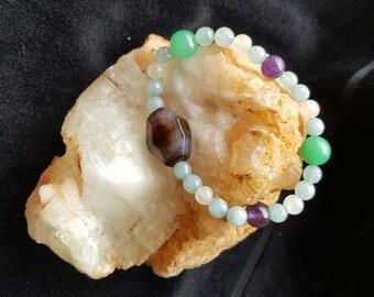 Healing Crystal Stackable Bracelet, Aventurine,Quartz, Amethyst