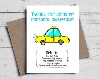 Personalised Birthday Card | Dad's Taxi Card | Custom Card | Mum's Taxi Card