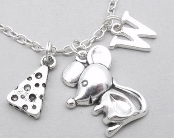 Mouse with cheese monogram necklace   mouse charm necklace   mouse pendant   personalised mouse necklace   mouse jewelry   letter