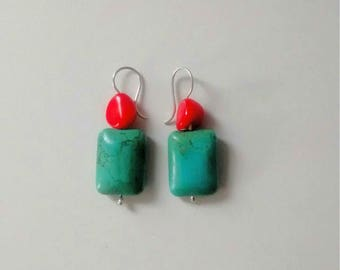 Turquoise and Red Bamboo Coral Dangle Earrings Southwest Style with Sterling Silver Hooks for Her Jewelry