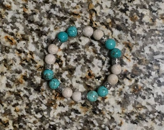 Turquoise and White Jasper Beaded Bracelet
