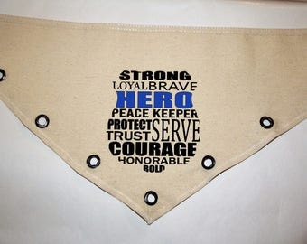 Unique grommet accent Canvas dog pet BANDANA police badge blue line black tie-front or over the collar! XS S M L XL